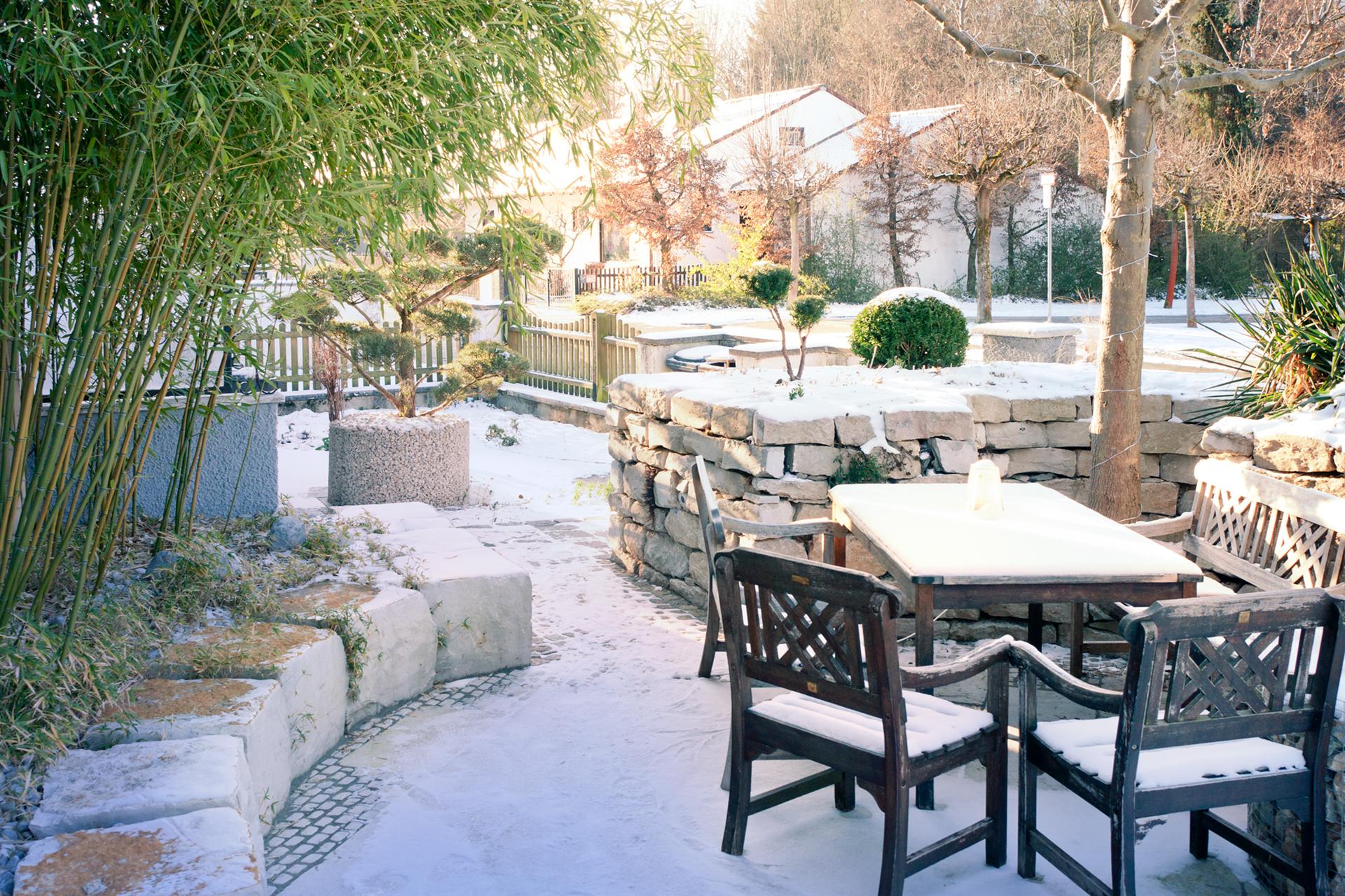 ook in de winter is de tuin mooi
